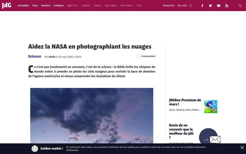 Aidez la NASA en photographiant les nuages | Journal du Geek
