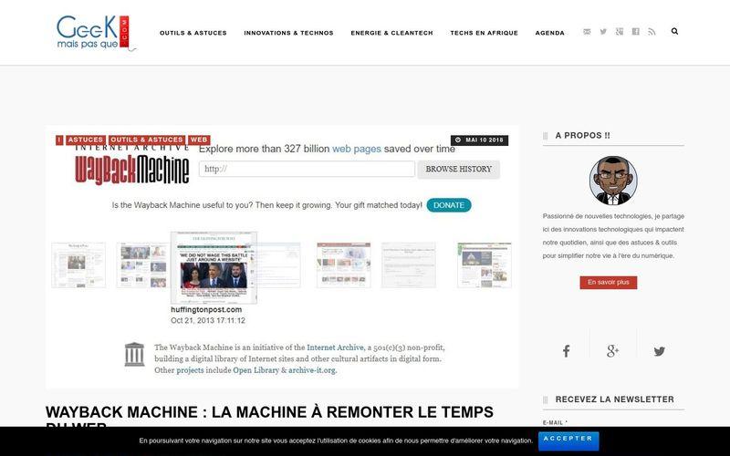 Geek mais pas que : Wayback Machine, la machine à remonter le temps du Web