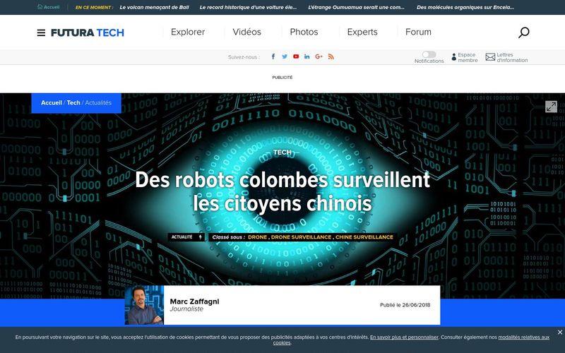 Futura Sciences : Des robots colombes surveillent les citoyens chinois