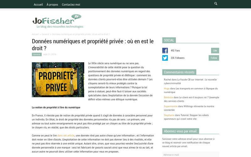 Jofischer : Données numériques et propriété privée : où en est le droit ?
